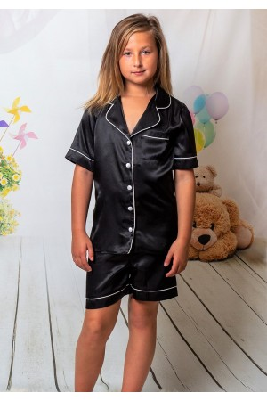 120 Black Kids Satin Short Sleeve pj's with piping