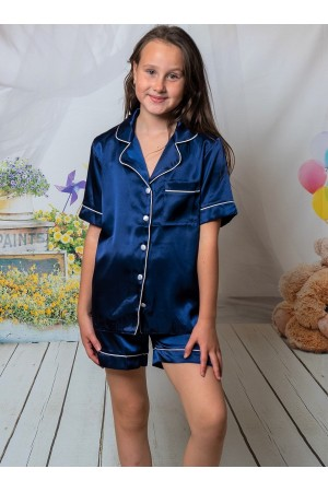 120 Navy Kids Satin Short Sleeve pj's with piping