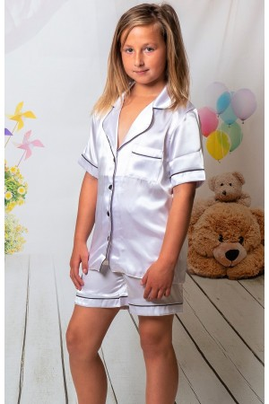 120 White Kids Satin Short Sleeve  pj's with piping