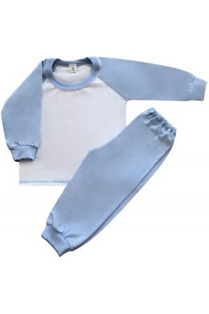 130 Light blue/ white long pyjama set 100% Cotton