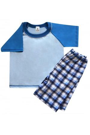 140 blue/tartan short pyjama set 100% Cotton