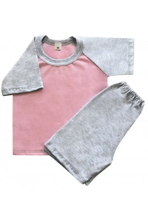 140 Kids grey/baby pink short pyjama set 100% Cotton ***Discontinued***