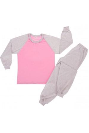 130 grey/baby pink long pyjama set 100% Cotton