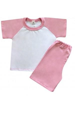 140 baby pink/white short pyjama set 100% Cotton