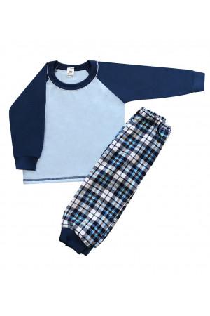 130 navy/tartan long pyjama set 100% Cotton