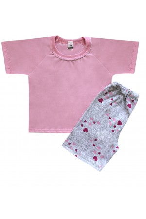 140 baby pink/hearts short pyjama set 100% Cotton