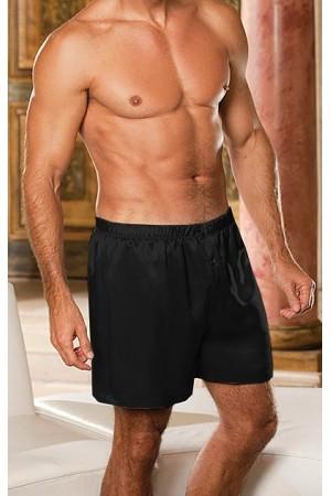 004 Black Men's Satin Boxers Shorts Plus Size S - 4XL Underwear