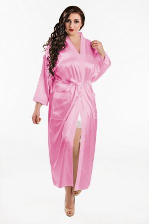 011 Baby Pink Satin Full Length Dressing Gown  S-7XL