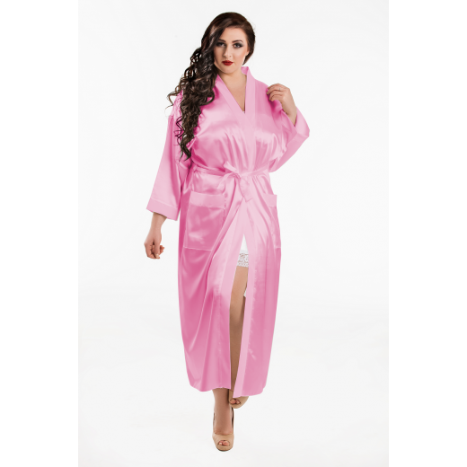 plus size-011 Baby Pink Satin Full Length Dressing Gown  S-7XL Dressing Gowns-Nine X