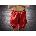 plus size-014 French Red Silky Satin Shorts S-3XL Briefs / Knickers-Nine X