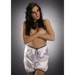 plus size-014 French White Silky Satin Shorts S-3XL Briefs / Knickers-Nine X