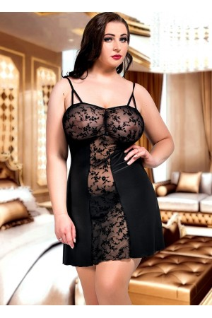 024 'Bridget' Black Lace Panel Babydoll S-6XL