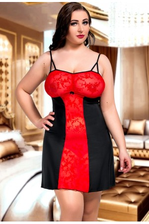 024 'Bridget'  Black and Red Stretch Lace Babydoll S-6XL