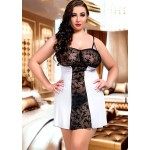 plus size-024  Bridget  Black and White Lace Panel Babydoll S-6XL Bridal Lingerie-Nine X