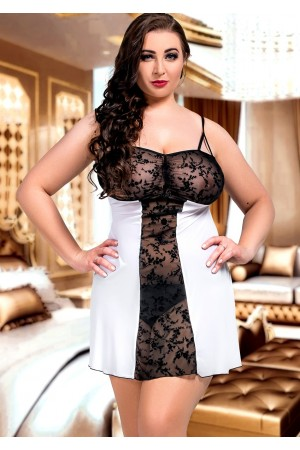 024 'Bridget' Black and White Lace Panel Babydoll S-6XL