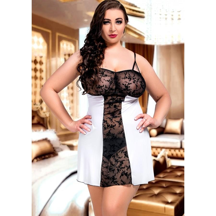 1d65c9331e4 024 Bridget Black and White Lace Panel Babydoll S-6XL Bridal Lingerie. plus  size-024 ...