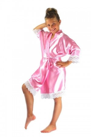3202 Baby Pink Children Satin Robe with lace