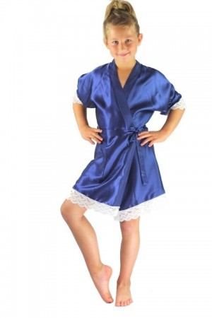 3202 Navy Blue Children Satin Robe with lace