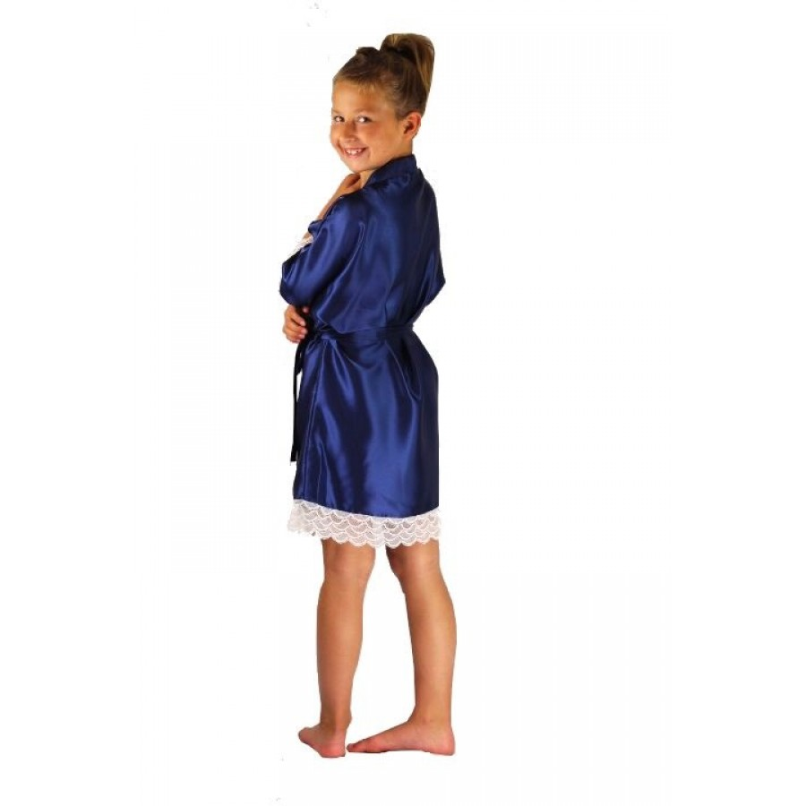 Satin Dressing Gown: 3202 Navy Blue Children Satin Robe With Lace