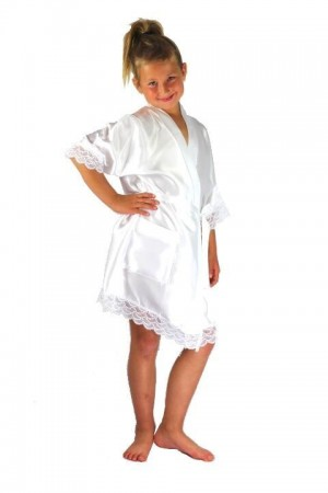 3202 White Children Satin Robe with lace