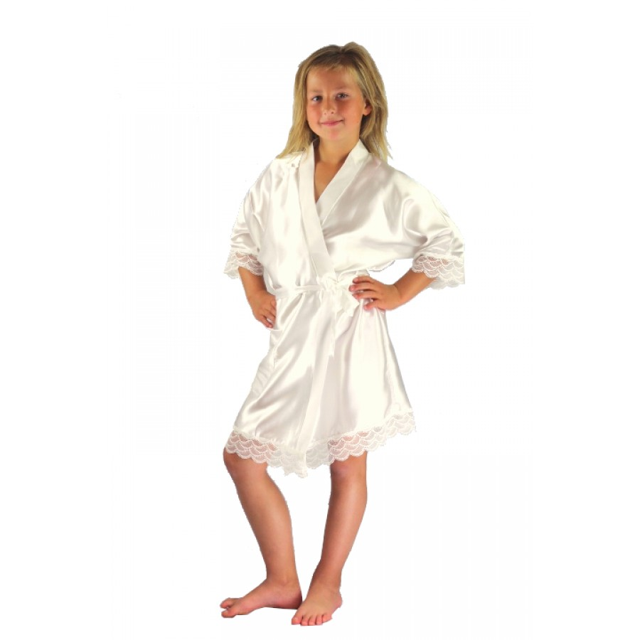 3202 Ivory Children Satin Robe with lace
