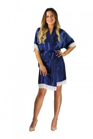 3201 Navy Soft Satin Dressing Gown With Lace S-7XL
