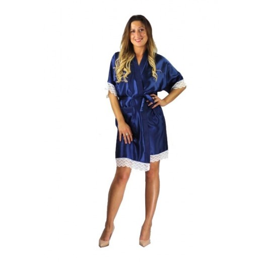 plus size-3201 Soft Satin Dressing Gown Navy S - 7XL Dressing Gowns-Nine X