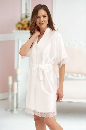3201 White Soft Satin Dressing Gown With Lace S-7XL