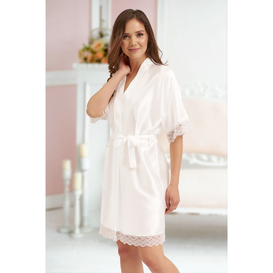 3201 White Soft Satin Dressing Gown With Lace S 7xl