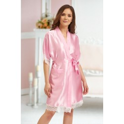 3201 Baby Pink Soft Satin Dressing Gown With Lace S-7XL Discontinued