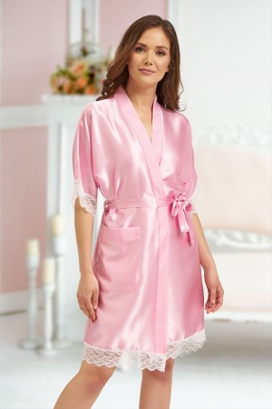 3201 Baby Pink Soft Satin Dressing Gown With Lace S-7XL