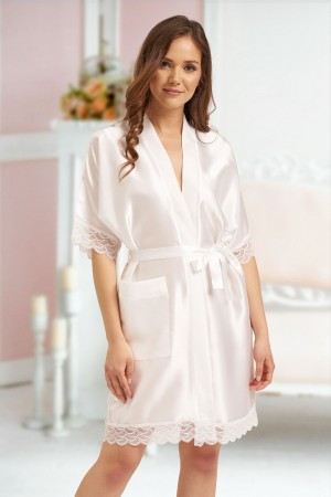 3201 Ivory Soft Satin Dressing Gown With Lace S-7XL