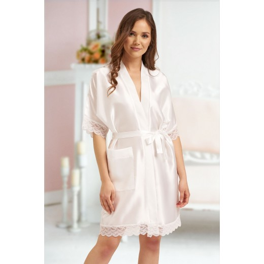 plus size-3201 Soft Satin Dressing Gown Ivory  S - 7XL Dressing Gowns-Nine X