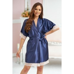 3201 Navy Soft Satin Dressing Gown With Lace S-7XL Discontinued