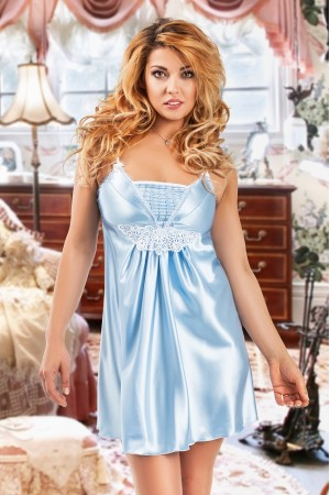 039 'Juana' - Light Blue Satin Babydoll with Lace Detail S/6XL 8/24