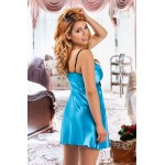 plus size-039  Juana  - Light Blue Satin Babydoll with Lace Detail S/6XL 8/24 Babydolls-Nine X