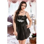 plus size-039  Juana  - Black Satin Babydoll with Lace Detail S/6XL 8/24 Babydolls-Nine X