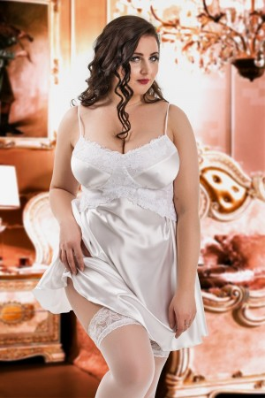 040 'Manola' -White satin Babydoll with Lace Detail S-6XL
