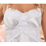 plus size-040  Manola  -White satin Babydoll with Lace Detail S-6XL Bridal Lingerie-Nine X