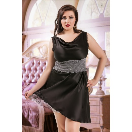 plus size-047  Sofia  - Black Satin Babydoll with Lace Detail S/6XL 8/24 Babydolls-Nine X
