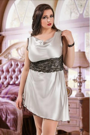 047 'Sofia' - Silver Satin Babydoll with Lace Detail S/6XL 8/24