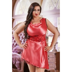 047 'Sofia' - Coral Satin Babydoll with Lace Detail S/6XL 8/24