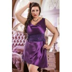 plus size-047  Sofia  - Purple Satin Babydoll with Lace Detail S/6XL 8/24 Babydolls-Nine X