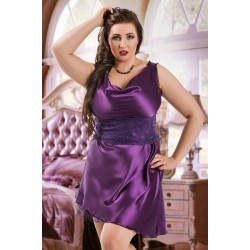 047 'Sofia' - Purple Satin Babydoll with Lace Detail S/6XL 8/24