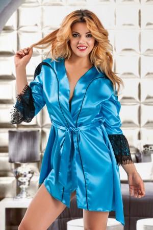 048 Glamorous Turquoise silky satin robe S-6XL