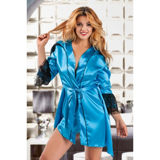 plus size-048 Glamorous Turquoise silky satin robe S-6XL Dressing Gowns-Nine X