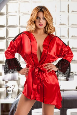048 Glamorous Red silky satin robe S-6XL