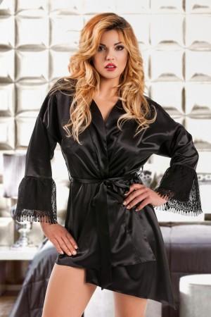 048 Glamorous Black silky satin robe S-6XL
