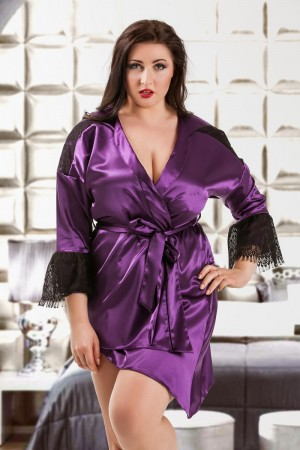 048 Glamorous Purple silky satin robe S-6XL