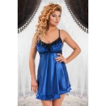 plus size-050  Lila  -Blue Satin Babydoll with Lace Detail S/6XL 8/24 Babydolls-Nine X
